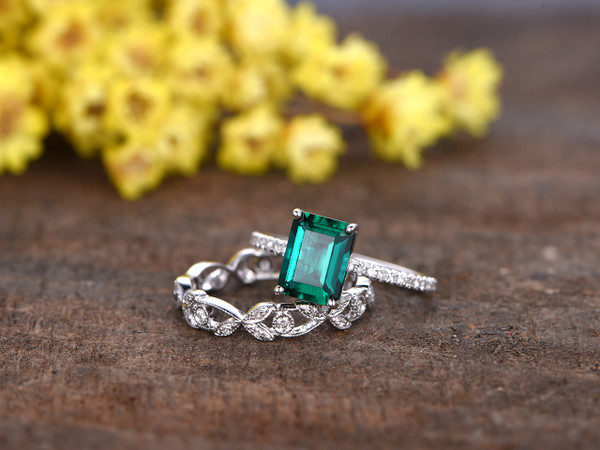 1.4 Carat Emerald Cut Emerald Wedding Set Diamond Bridal Ring 14k White Gold Flower Art Deco Eternity Band