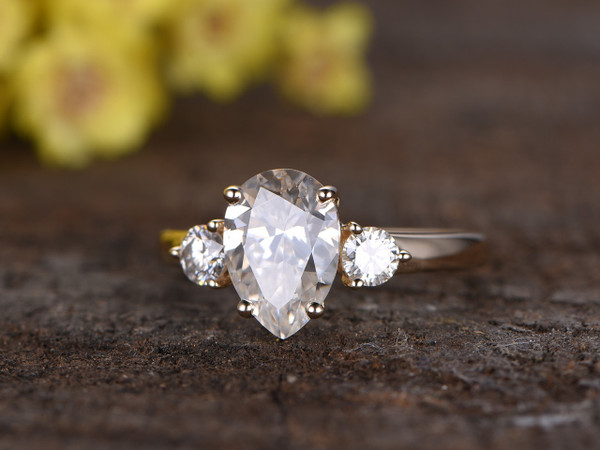 2.2 Carat Pear Moissanite Engagement Ring Promise 14k Yellow Gold Three Stone Stacking Band