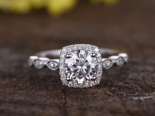1 Carat Round Moissanite Halo Engagement Ring Diamond 14k White Gold Art Deco Antique Milgrain Stacking Band