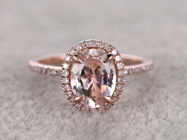 1.2 Carat Oval Morganite Engagement Ring Diamond Promise Ring 14k Rose Gold Halo Stacking Band
