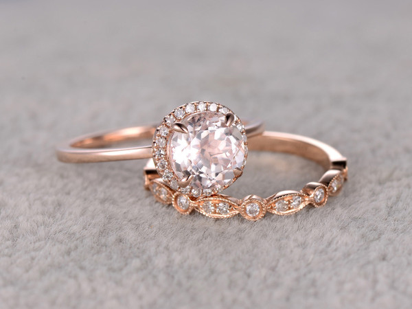 1.2 Carat Round Morganite Wedding Set Diamond Bridal Ring 14k Rose Gold Halo Art Deco Matching Band