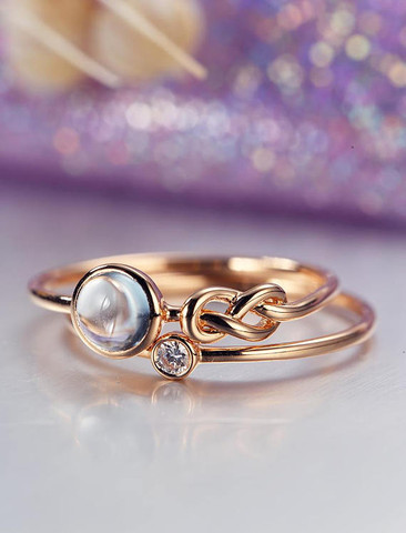 Unique engagement ring set rose gold moonstone wedding women bridal unique engagement ring set rose gold moonstone wedding women bridal jewelry love knot stacking simple delicate junglespirit Gallery