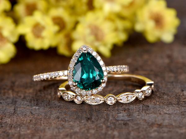 1 Carat Teardrop Emerald Engagement Ring Set Diamond Wedding Band 14k Yellow Gold Art Deco Milgrain Stacking