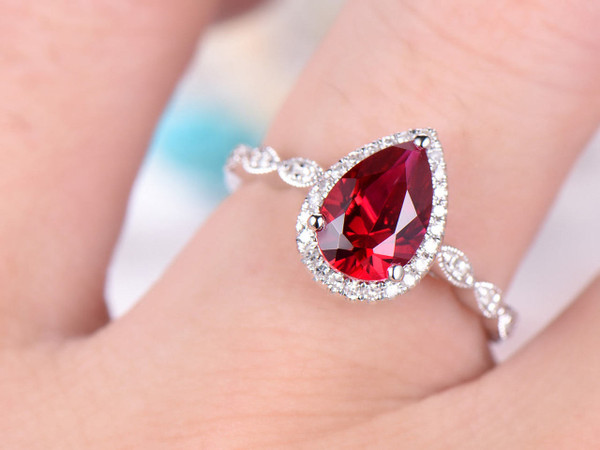Pear Cut Ruby Engagement Ring,14k White Gold,Anniversary ring,Promise ring,Art deco,Vintage Marquise Band,Prong,Milgrain edge,Gift for her