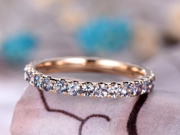Alexandrite Wedding band,14k Yellow Gold,Bridal band,Anniversary ring,Promise ring,Full Eternity Band,Stackable Ring,Pave Set,Gift for her