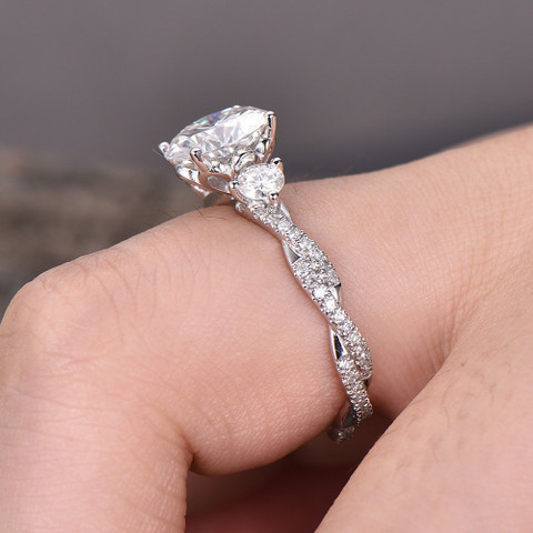 Forever One Moissanite Engagement Ring Infinity Ring Twist Wedding