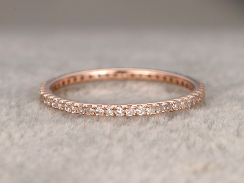Round Diamond Wedding Ring Solid 14k Rose Gold Micro Pave