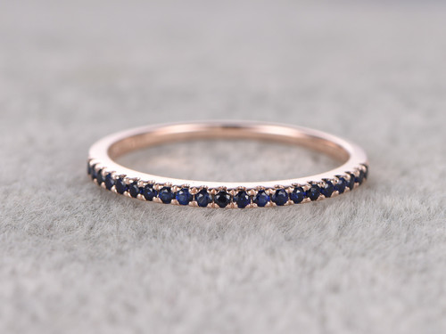 Blue Sapphire Wedding Ring 14k Rose Gold Half Eternity