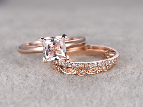 6 5mm Princess Cut Morganite Wedding Set Diamond Bridal
