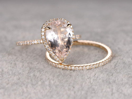 10x12mm Pear Morganite Wedding Set Diamond Bridal Ring 14k