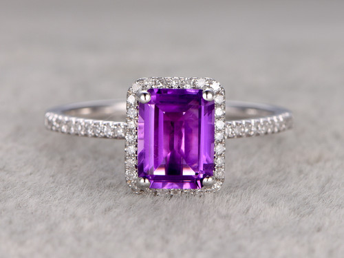 Natural 6x8mm Emerald Cut Amethyst Engagement Ring Diamond