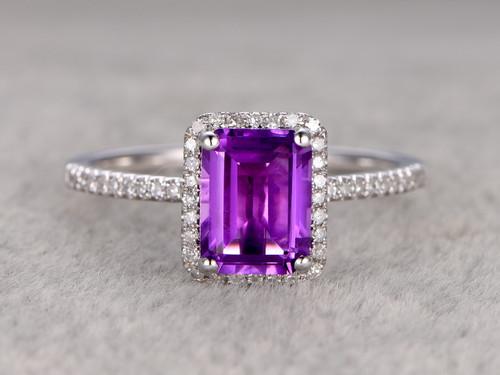 Natural 6x8mm Emerald Cut Amethyst Engagement Ring Diamond