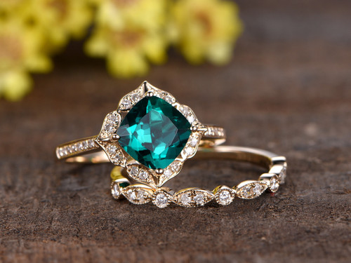 1 4 Carat Cushion Emerald Wedding Set Diamond Bridal Ring