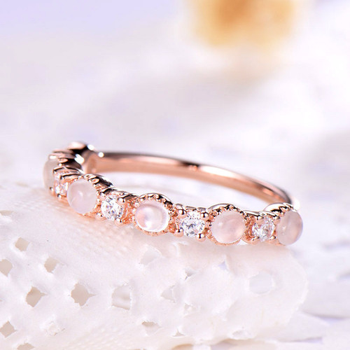 Moonstone Wedding Band Rose Gold Moonstone Ring Jewelry