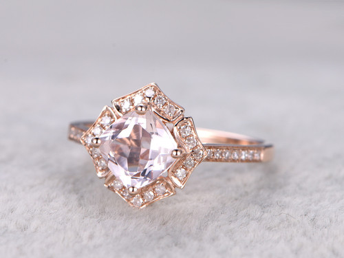 1 3 Carat Cushion Cut Morganite Engagement Ring Diamond