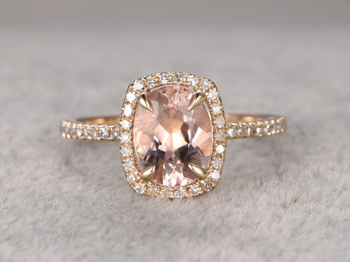 Oval Morganite Engagement Ring Cushion Halo Bbbgem