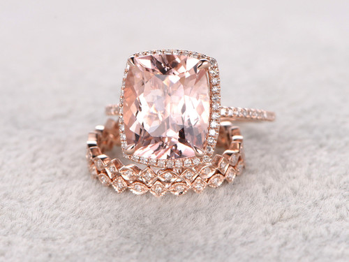5 Carat Cushion Cut Morganite Wedding Set Diamond Bridal
