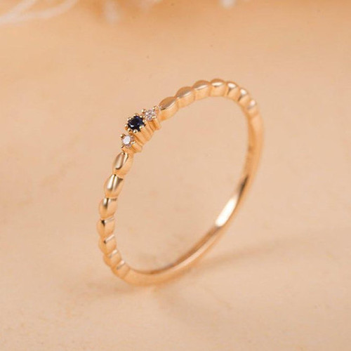 Dainty Sapphire Stacking Ring Yellow Gold Diamond Ring