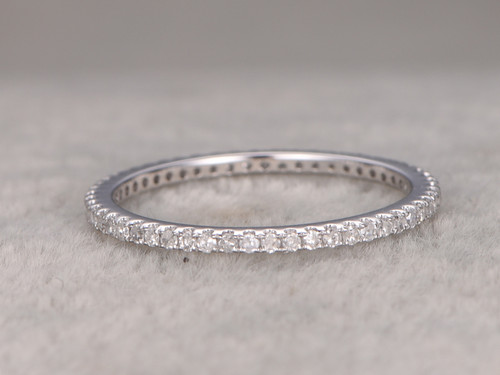 White Gold Diamond Wedding Rings For Her Thin Pave Full