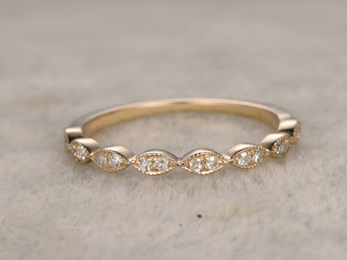 Round Diamond Wedding Ring 14k Yellow Gold Half Eternity