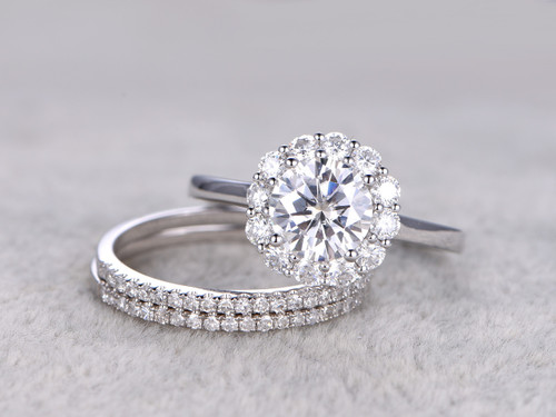 3pcs Moissanite Wedding Ring Set Diamond Matching Band White Gold Flower  Halo Thin Pave Stacking 14K ...