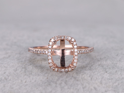 6x8mm Diamond Engagement Ring Settings Rose Gold Oval Cut