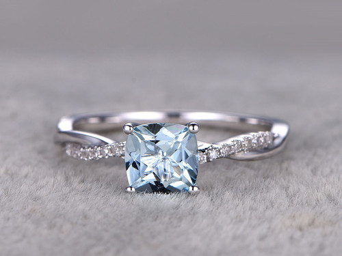aquamarine wedding rings white gold aquamarine engagement rings with diamonds 1358