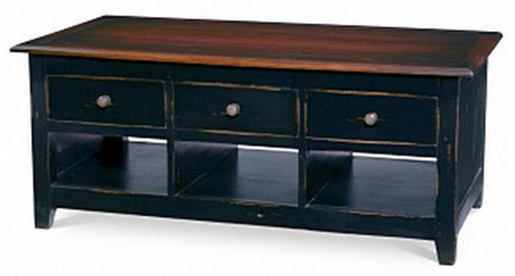 Americana 6 Drawer Coffee Table - Black Heavy Distressed /VDK