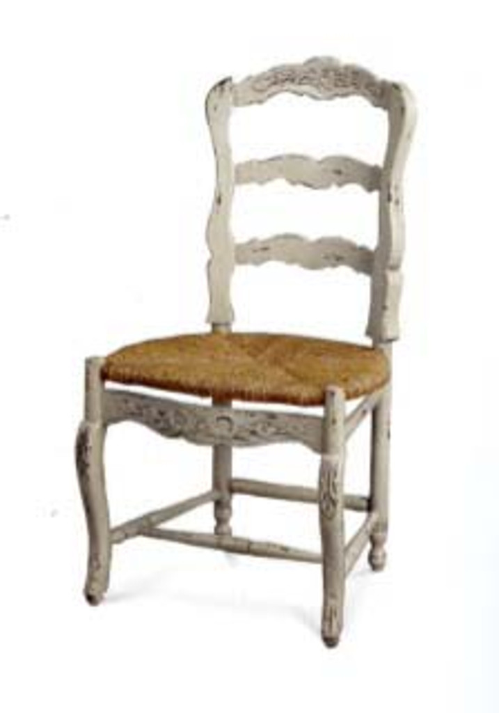 Farmhouse Dining Chair w/ Carving - White Light Distressed