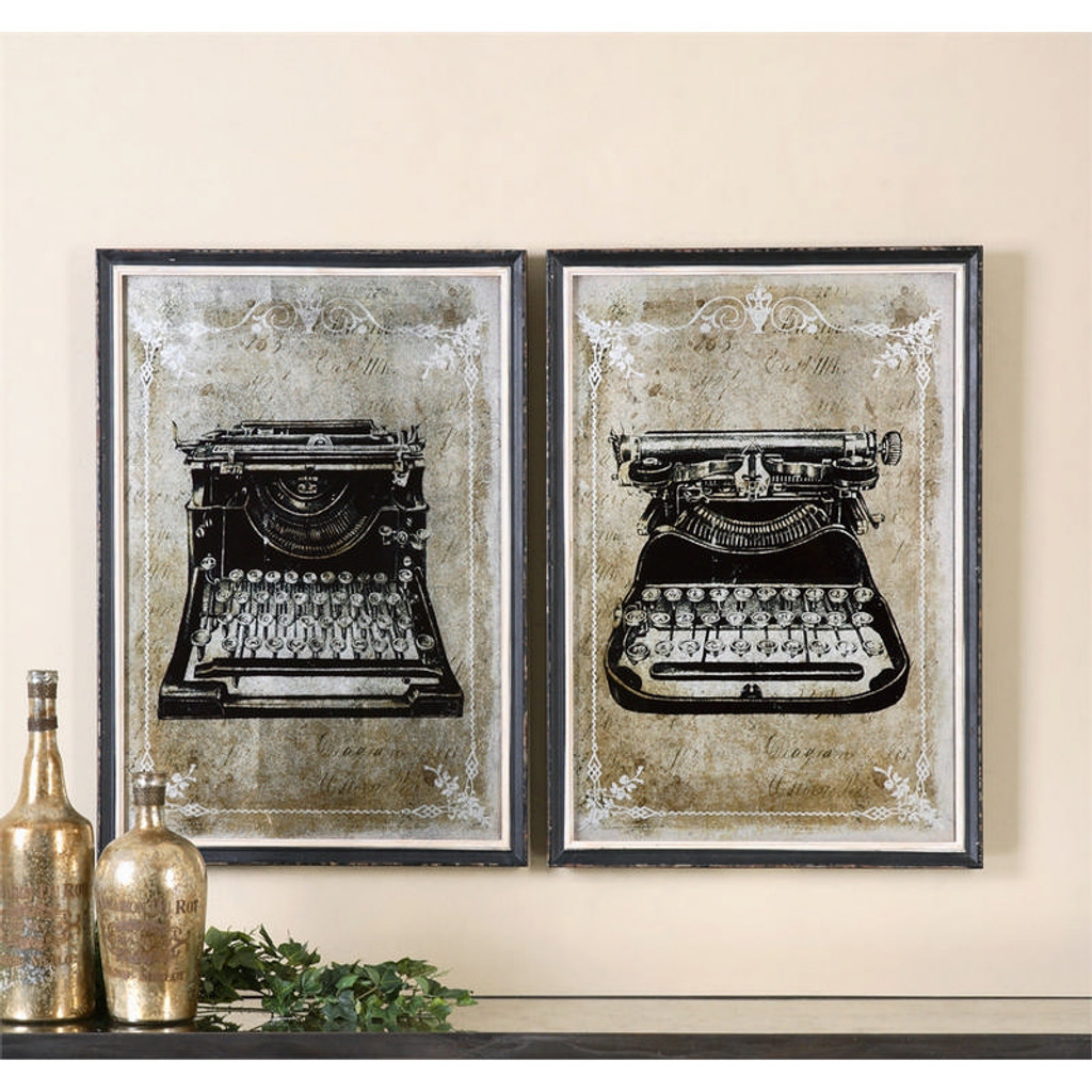 Classic Typewriters Set of 2 a Prints Framed by Uttermost