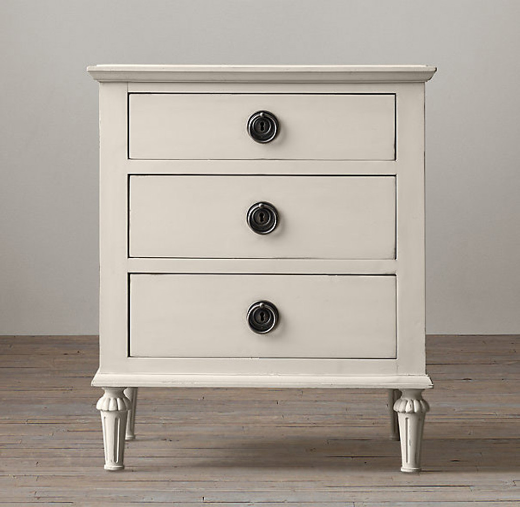 Bordeaux 3 Drawer Bedside (Antique White)