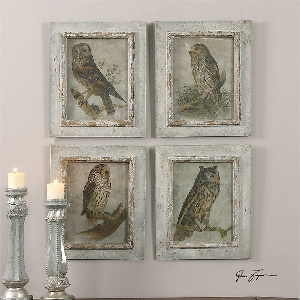 Owls Set of 4 a Prints Framed by Uttermost
