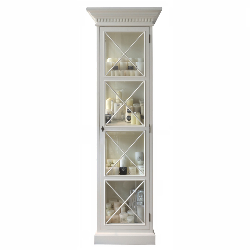 english antique display cabinet. French Cross Display Cabinet 1 Door - Antique White English