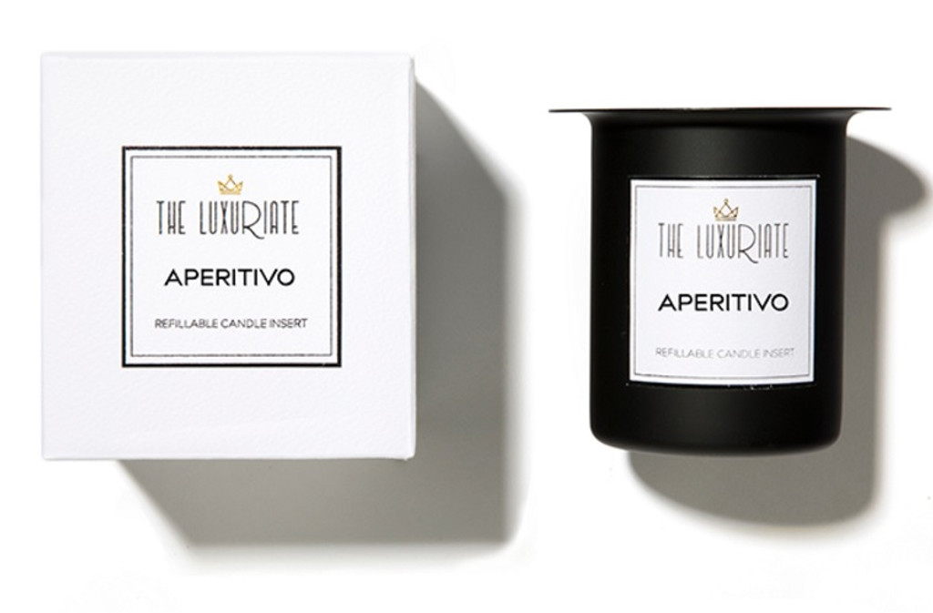 The Luxuriate Aperitivo Candle Refill Insert and box