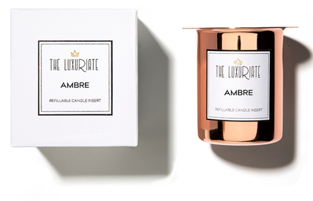 The Luxuriate Ambre Candle Refill Insert and box