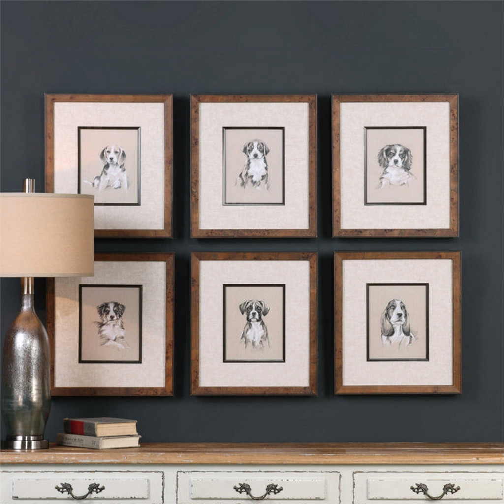 Small Breed Sketches Set/6 - Framed Artwork a Prints Framed by Uttermost