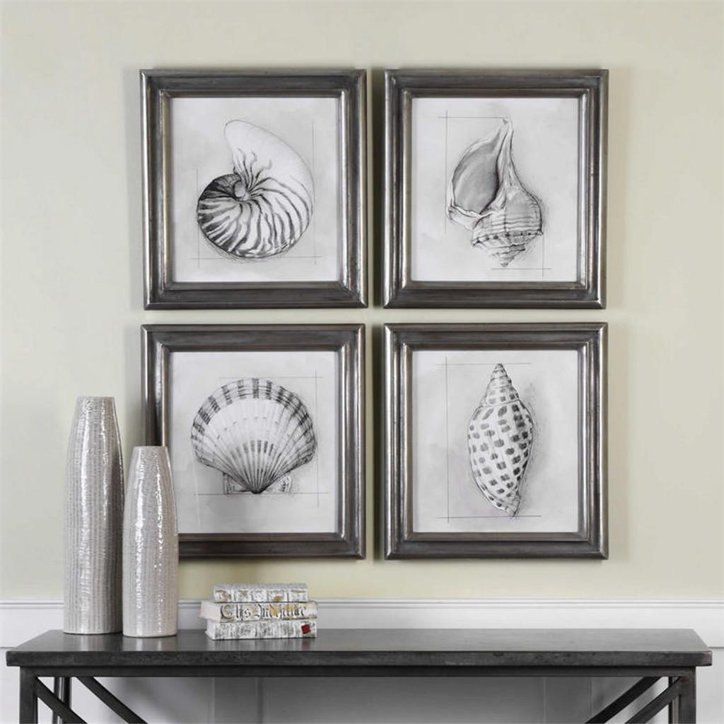 Shell Schematic Set/4 - Framed Artwork a Prints Framed by Uttermost
