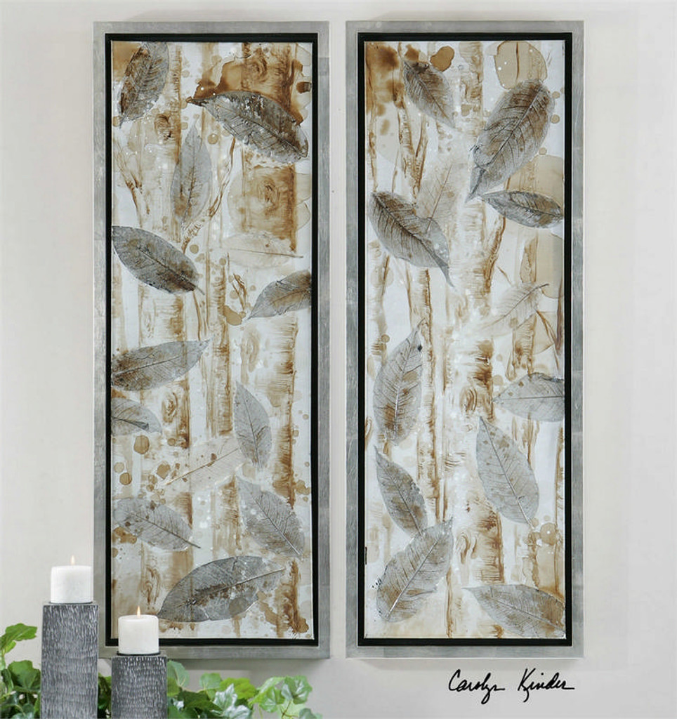 Pressed Leaves Set/2 - Hand Painted Artwork a Paintings by Uttermost
