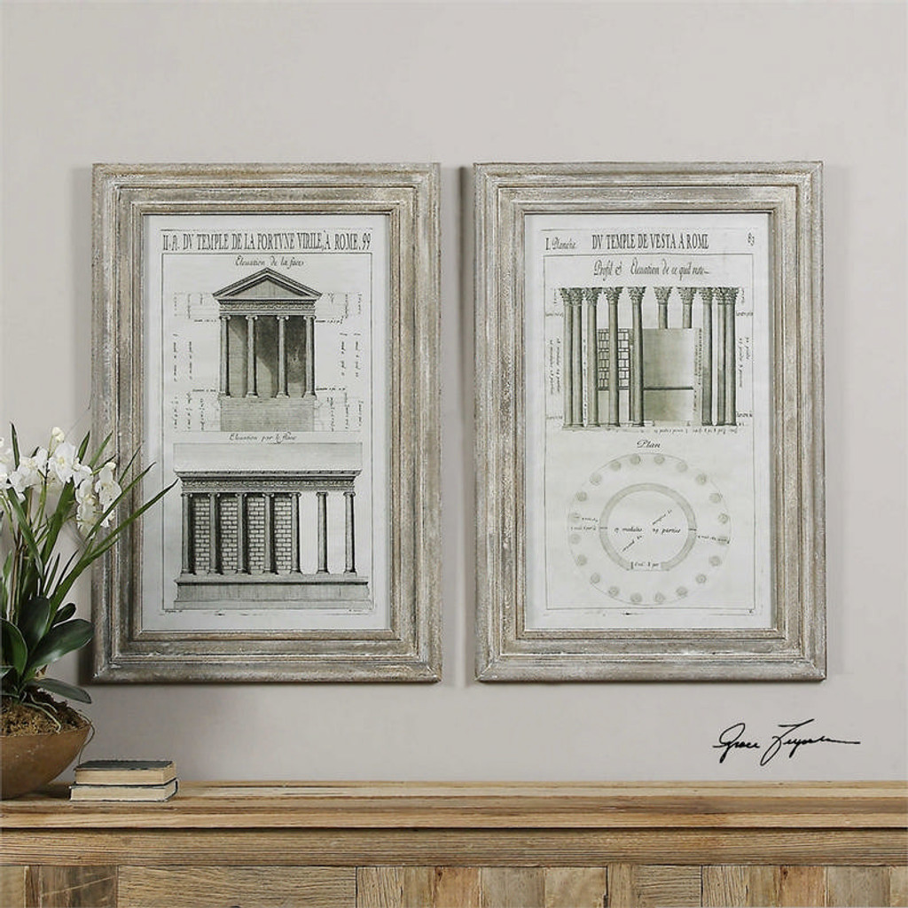 Temples of Rome Set/2 - Framed Artwork a Prints Framed by Uttermost