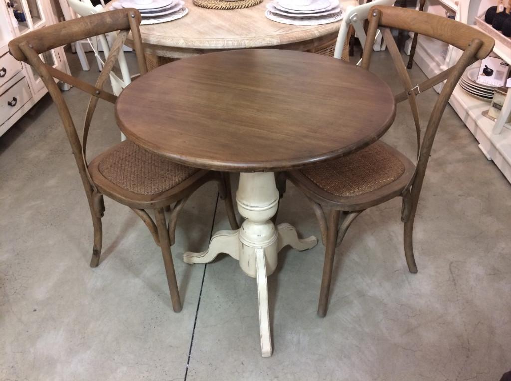 Paris Cafe Table And Chair Set Antique Cream And Oak Maison Living - Paris cafe table
