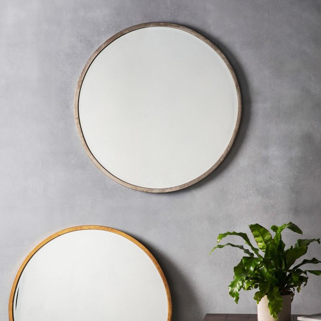 Higgins Round Mirror - Antique Silver
