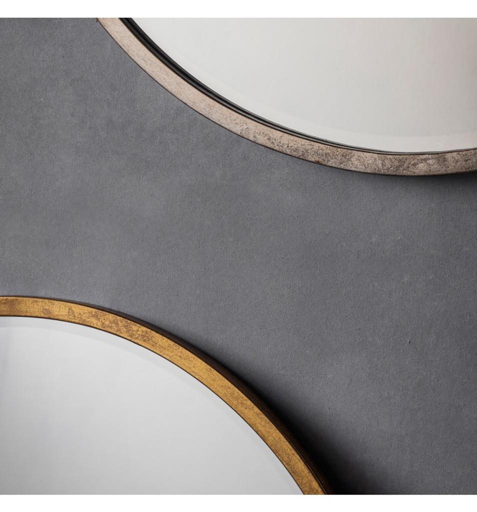 Higgins Round Mirror - Antique Silver - close view