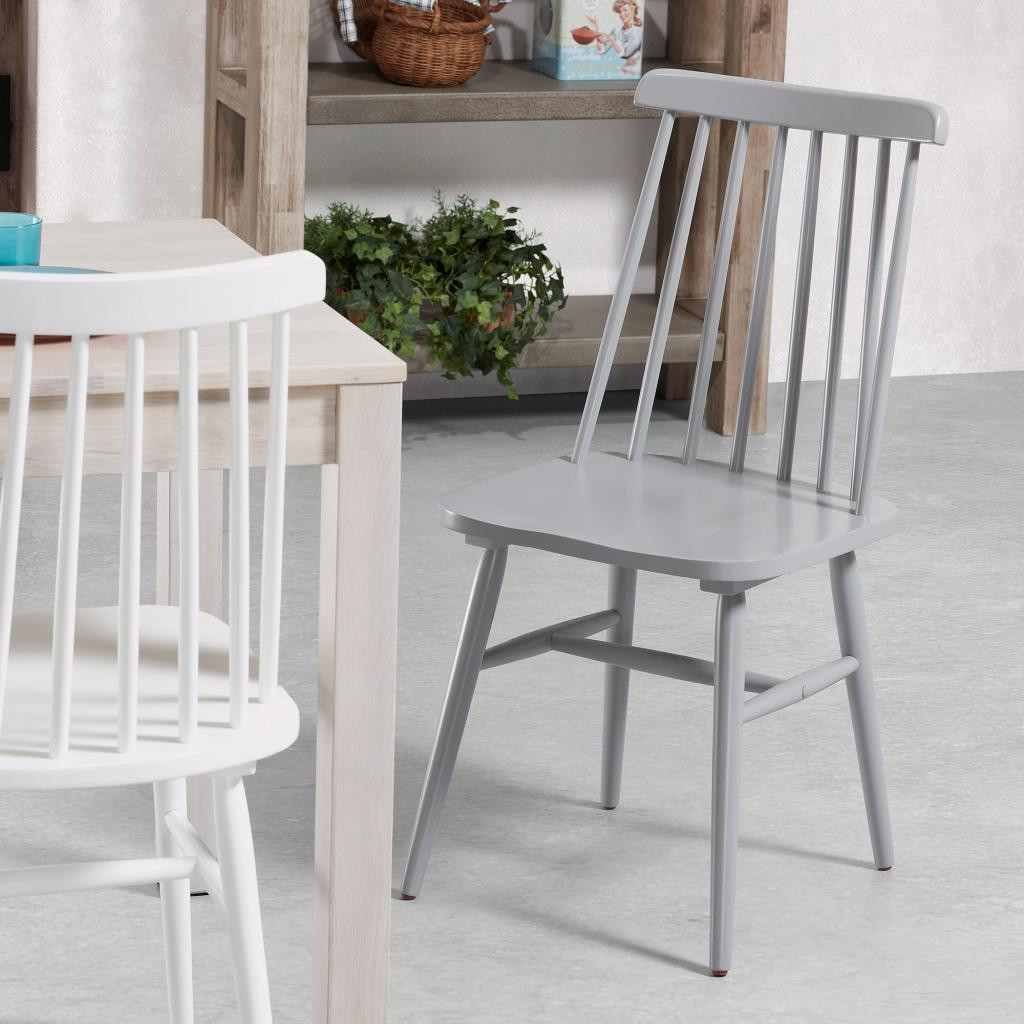 Kristie Wooden Chairs - White and Grey