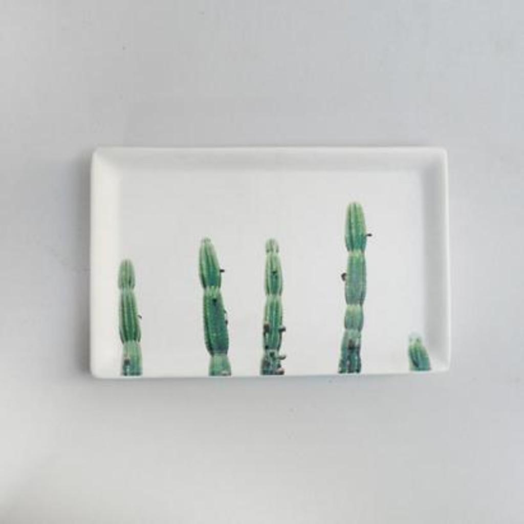 Cactus Ceramic Tray - 21 x 13 x 1cm