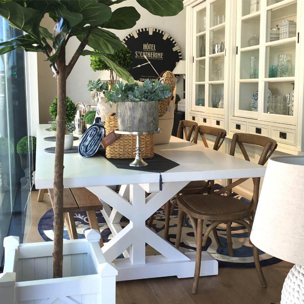 Hamptons X-Base Dining Table 3m - White