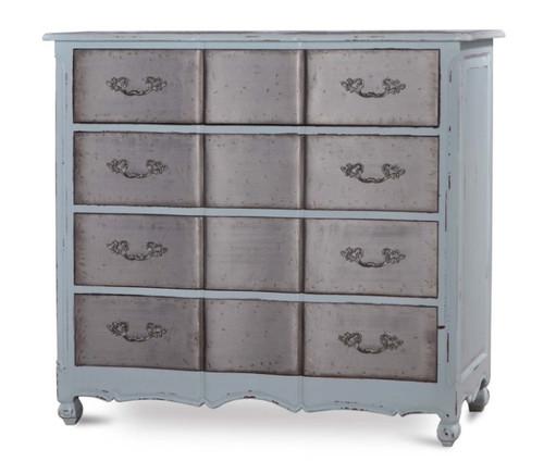 Provence 4 Drawer Dresser Large w/ Tin Drawers - Size: 127H x 137W x 53D (cm)