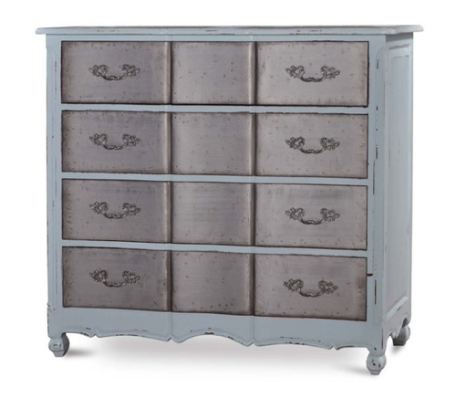 Provence 4 Drawer Dresser Large w/ Tin Drawers - Size: 127H x 137W x 53D (cm)