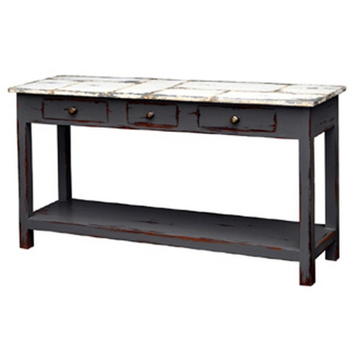 Tinsmith Sofa Table - Slate Heavy Distressed /TAW