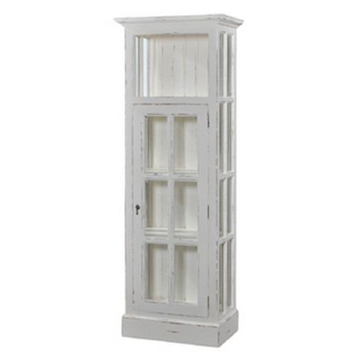 Cape Cod Bookcase w/ Doors - White Heavy Distressed - FLOOR STOCK