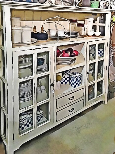 Hamptons Kitchen Cupboard 2 Drawer - ANTIQUE White Heavy Distressed - FLOOR STOCK